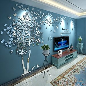 Buy N.SunForest 3D Crystal Acrylic Couple Tree Wall Stickers Silver Self-Adhesive DI