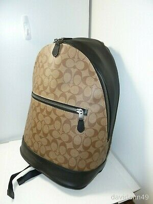 Buy NWT Coach F78756 West Slim Backpack Signature Coated Canvas - Tan/Black