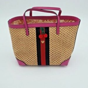 Buy NWT Gucci Girls Paglia Mesh Straw Pink Leather Web Small Tote Bag New $650