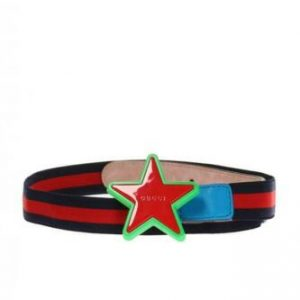 Buy NWT Gucci Kids Elastic Blue/Red/Blue Band Star buckle belt 455907