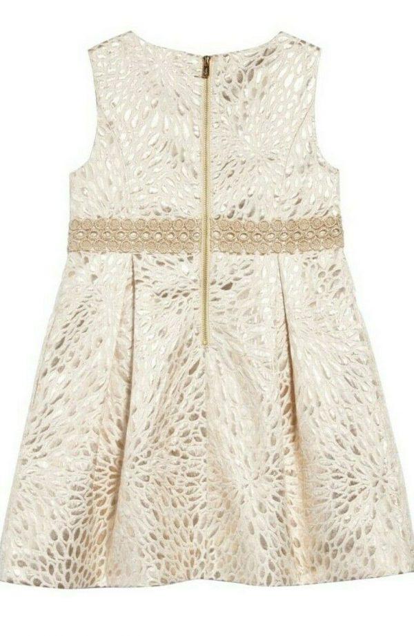 Buy NWT- Lilly Pulitzer ABRIANNA Girls Gold Metallic Lagoon Jacquard Dress Sz 6-$118