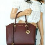 Buy NWT MICHAEL KORS CIARA LARGE TOP ZIP SATCHEL LEATHER SHOULDER BAG MERLOT