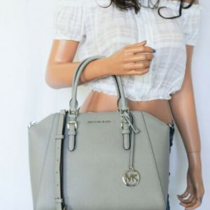 Buy NWT MICHAEL KORS CIARA LARGE TOP ZIP SATCHEL LEATHER SHOULDER BAG PEARL GREY