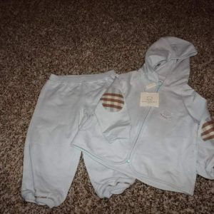 Buy NWT NEW BURBERRY 9M 9 MONTHS BLUE HOODIE JACKET AND PANTS SET