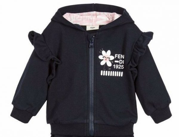 Buy NWT NEW Fendi Baby Girls navy blue 2pc hoodie tracksuit jacket pink leggings 3m