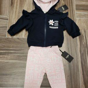 Buy NWT NEW Fendi Baby Girls navy blue 2pc hoodie tracksuit jacket pink leggings 3m