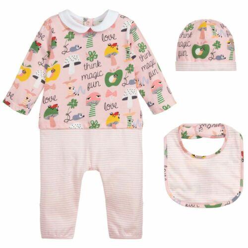 Buy NWT NEW Fendi baby Girls 3pc graphic Print romper footie hat bib gift set 6 9m