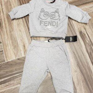 Buy NWT NEW Fendi baby Girls gray heather bow logo sweatshirt pants tracksuit set 3m