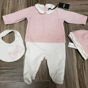 Buy NWT NEW Fendi baby girls pink white velour faint bow logo romper hat bib 3set 3m