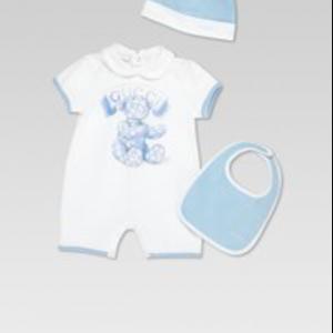 Buy NWT NEW Gucci baby boys blue white 3pc set romper bib beanie 9/12m 12/18m 307401