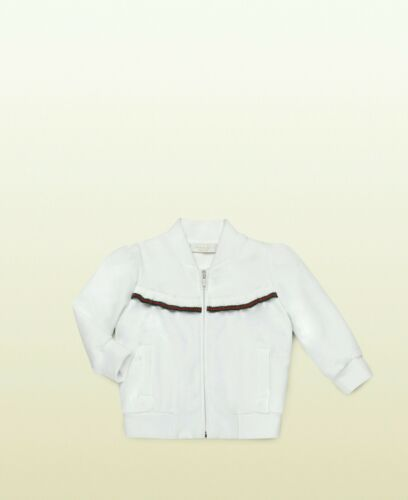 Buy NWT NEW Gucci baby girls white felted cotton sweatshirt jacket web 18/24m