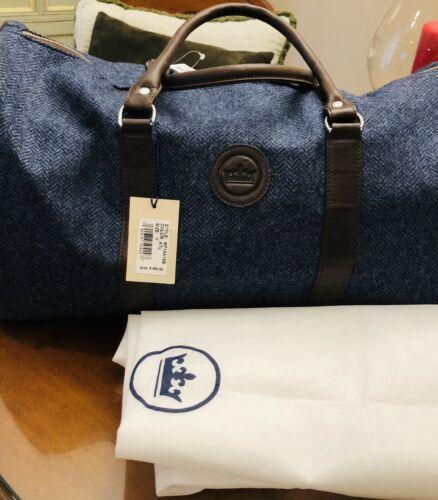 Buy NWT PETER MILLAR Mountainside Day Duffle Bag/Weekender Blue Wool & Brown Leather