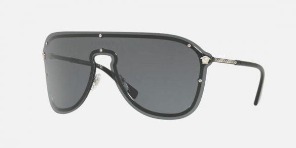 Buy NWT VERSACE Sunglasses VE 2180 1000/87 Silver Black / Gray 44 mm 100087 NIB