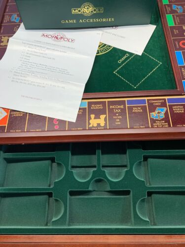 Buy New 1991 Franklin Mint Monopoly Collectors Edition Wood Board With Glass Top