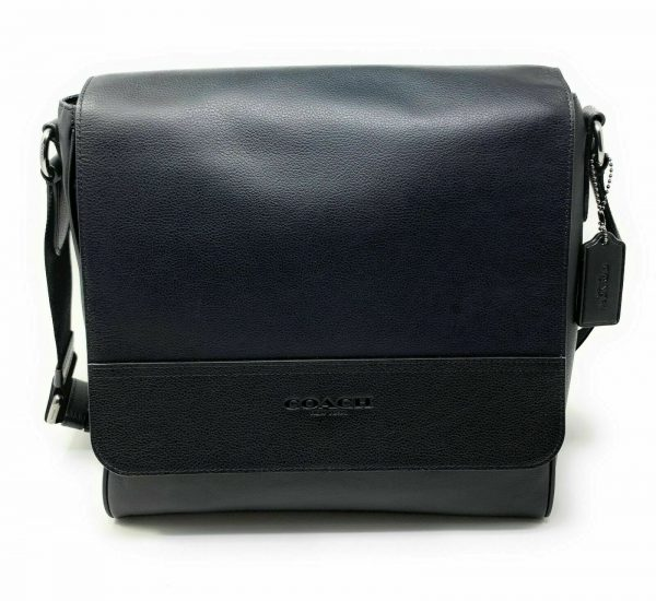 Buy New Authentic Coach F73339 Houston Map Bag Signature Canvas Leather Charcoal BLK