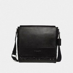 Buy New Authentic Men Coach F73340 Houston Bag Messenger Signature Leather Black