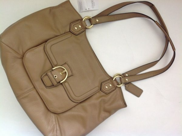 Buy New Coach Cute Large Leather Purse Tote with 3 Pockets - Carmel Tan