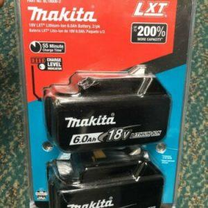 Buy New GENUINE Makita BL1860B-2 18-Volt LXT Lithium-Ion 6.0 AH Batteries, 2-Pack FS
