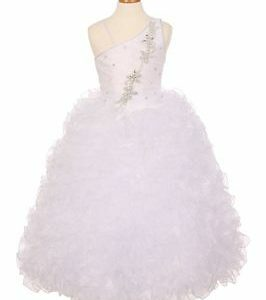 Buy New Girl's White Pageant Organza Full Length Ball Gown 2 4 6 8 10 12