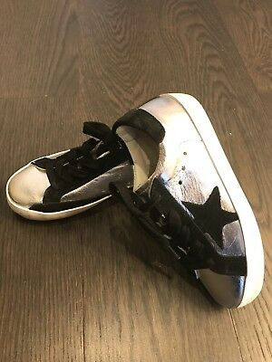 Buy New Golden Goose Girl Superstar Leather Silver Black Sneakers Shoes Size 27 10