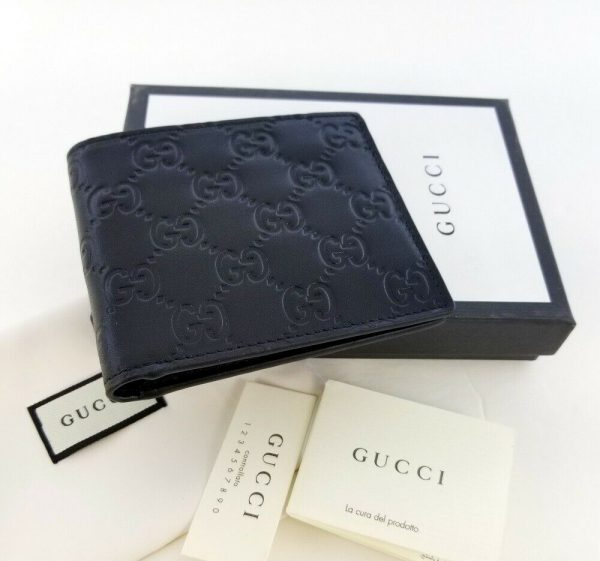 Buy New Gucci Authentic Mens Black Bi fold Guccissima Wallet with Box
