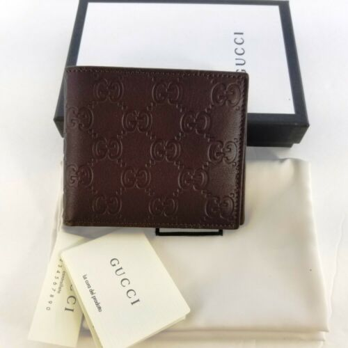Buy New Gucci Authentic Mens Brown Bi fold Guccissima Wallet with Box