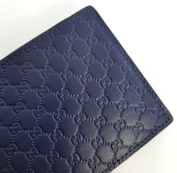 Buy New Gucci Authentic Mens Navy Blue Micro Guccissima Bi fold Wallet with Box