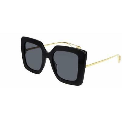 Buy New Gucci Black & Grey Gold Square Women's Sunglasses GG0435S-001