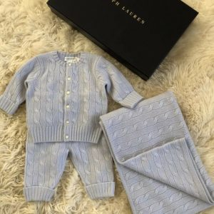 Buy New In Box Ralph Lauren Baby Blue Cashmere Blanket Sweater Legging Pants Set 6M