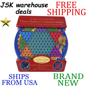 Buy New JOHN N. HANSEN CO. Chinese Checkers & Traditional Checkers Tin 6 Years & Up