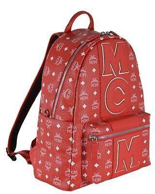 Buy New MCM $975 Red Diamond Visetos Stripe Logo Medium Backpack Rucksack Travel Bag