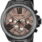 Buy New Michael Kors Wren Black Rose Chronograph Womens Glitz Stainless Watch MK5879