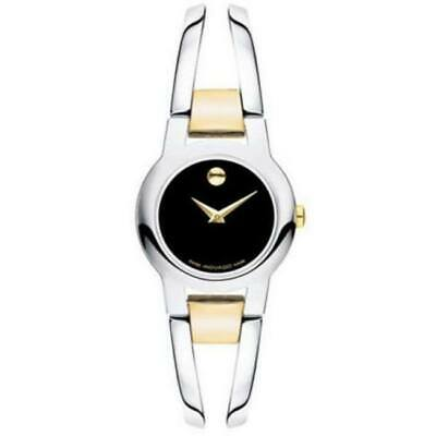 Buy New Movado Amorosa Black Dial Two Tone Stainless Steel Women's Watch 0606893
