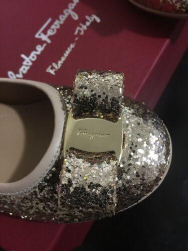 Buy New Salvatore Ferragamo Girls Gold Glitter Shoes Size EURO 27/10.5 US  ITALY!