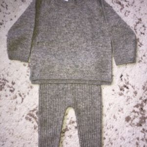 Buy New Zara Baby Boy Girl 100% Cashmere Light Grey Melange Sweater & Pants Set 6-9M
