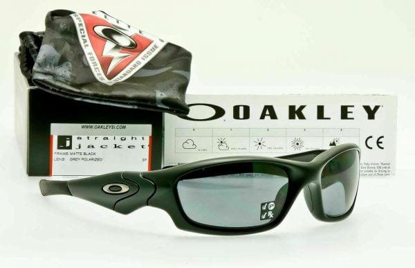 Buy Oakley SI Straight Jacket POLARIZED Sunglasses 11-014 Matte Black W/ Grey Lens