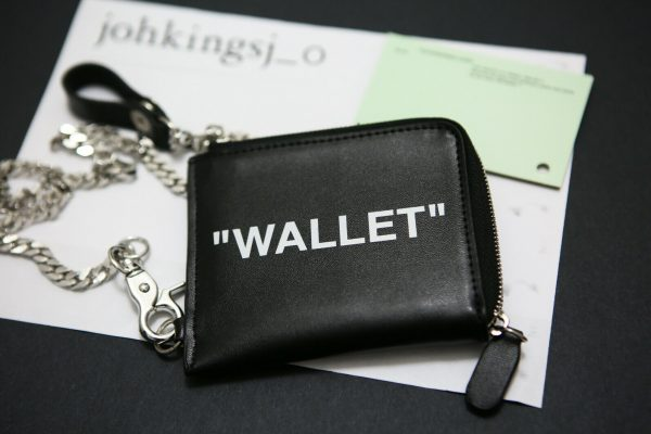 Buy Off White Zip Around Black Leather Wallet with Chain Authentic