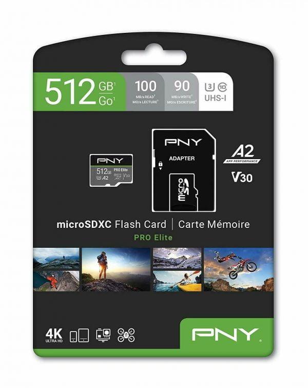 Buy PNY U3 Pro Elite MicroSD Card - 512GB - (P-SDUX512U3100PRO-GE) NEW
