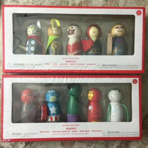 Buy POTTERY BARN KIDS DC & Marvel Wood 20 Figurines 4-SETS SEALED  Rare Collectiors