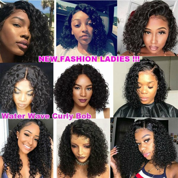 Buy Peruvian Remy Human Hair Lace Front Wig Bob Style Water Wave Curly Full Hair Wig