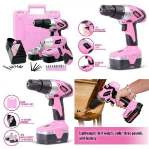 Buy Pink Power Drill and Electric Screwdriver Tool Kit PP1848K 18 Volt