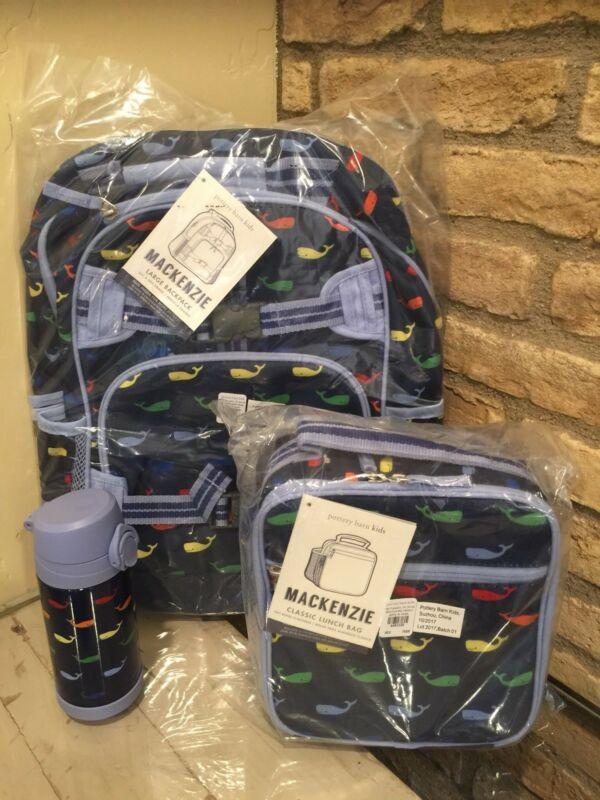 Buy Pottery Barn Kids Large Backpack multi whale Lunchbox Water Bottle Blue Navy Set