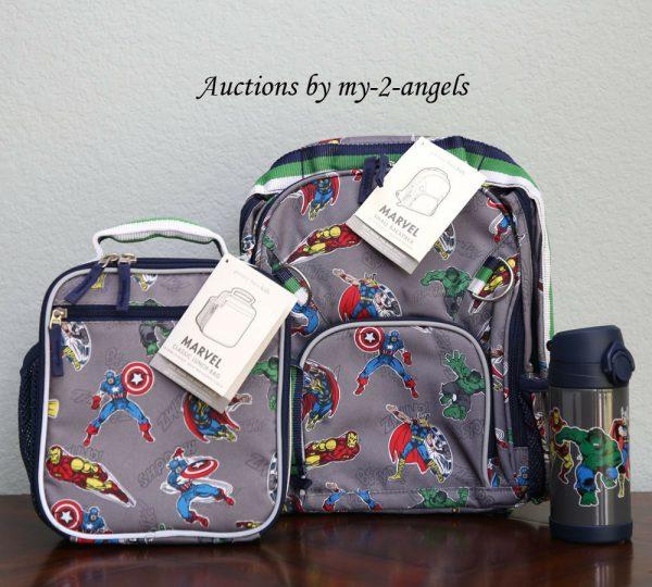 Buy Pottery Barn Kids MARVEL GRAY Small Backpack Lunch Bag Water Bottle *avengers