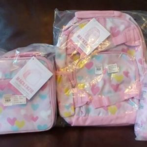 Buy Pottery Barn Kids Pink Heart Small Backpack Lunchbox Water Bottle Set Girl
