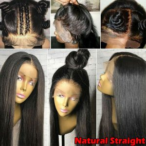 Buy Silk Top Full Lace Front Wigs Straight Peruvian Remy Human Hair Wig Baby Hair Dq
