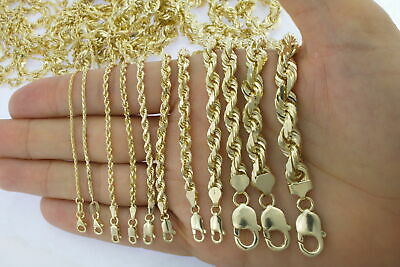 """Buy Real 10K Yellow Gold 2mm to 7mm Diamond Cut Rope Chain Pendant Necklace 16""""- 32"""""""