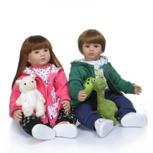 """Buy Reborn Twins Dolls 24"""" Toddler Boy and Girl with Costume Pacifier and Plush Toys"""