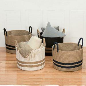 Buy San Marino 18 In. X 18 In. X 14 In. Navy Round Polypropylene Braided Basket