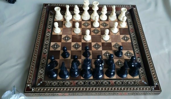 Buy Set Chess Board/Checkers-Handmade High Detail Wooden Game,Board Size 15.8 x 15.8