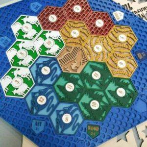 Buy Settlers of Catan Board | 3-4 Players FULL. Blue. Custom, Wood, Laser Cut.